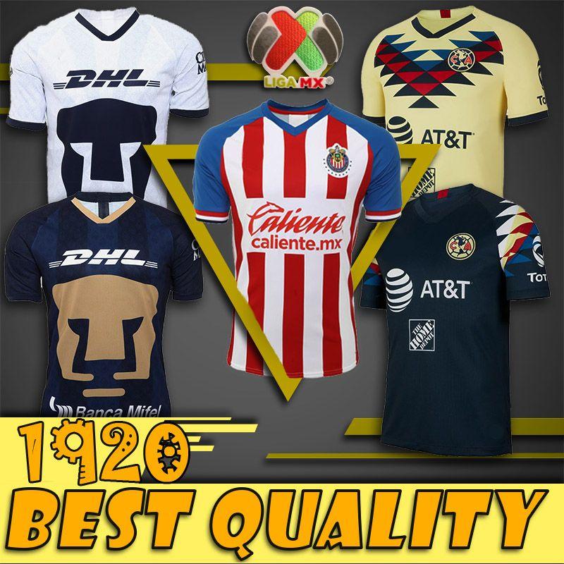 19 20 Maillots de football de haute qualité LIGA MX Club America Chivas à domicile jaune loin 2019 2020 maillots de football Camisetas O.Peralta