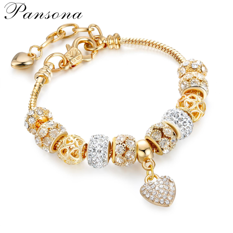 Joyería de Pandora estilo DIY de la manera de las mujeres retro creativo de plata del encanto del cristal plateado de boda pulseras brazalete de la muchacha barato Filamentos moldeados AA181