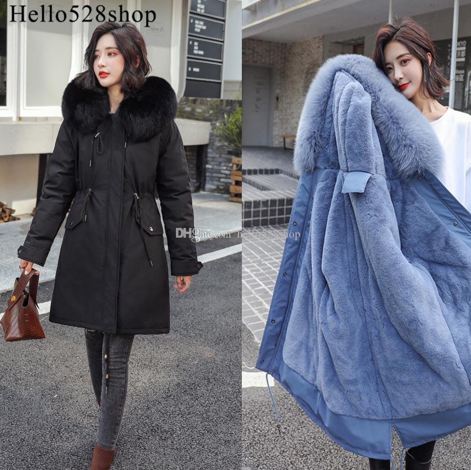 Hello528shop Winter Fashion Ladies Fur Collar Korean Long Style Village Down Cotton Padded Warm Jackets and Coats Women