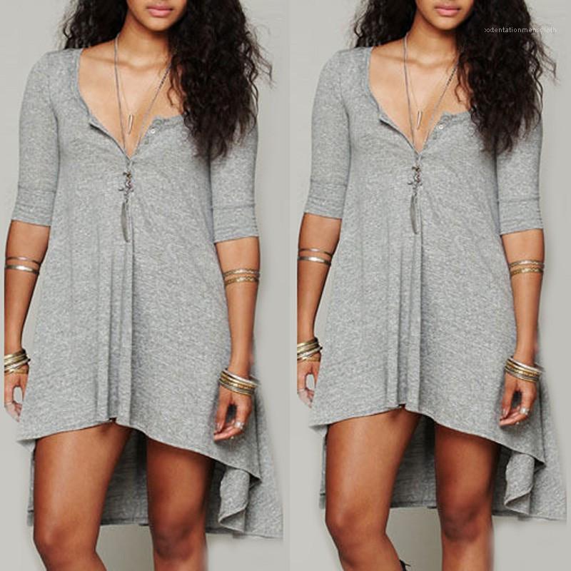 Plus Size Frauen Kleidung Frühlings-Frauen-beiläufige Kleider mit Rundhalsausschnitt Asymmetrisch Mid Sleeve Solid Color Kleider