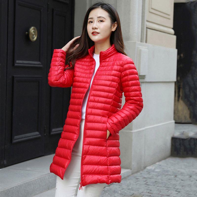 Bayanlar Uzun Puffer Coat Ofis İnce Bayan 2020 Kış Aşağı Ceket Kadın Plus Size Standı Yaka Katı İnce Palto Kadın
