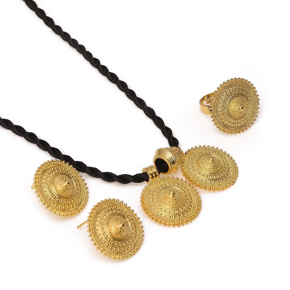 에티오피아 골드 컬러 목걸이 펜던트 귀걸이 반지 Habesha 결혼식 에리트레아 아프리카 아랍 선물