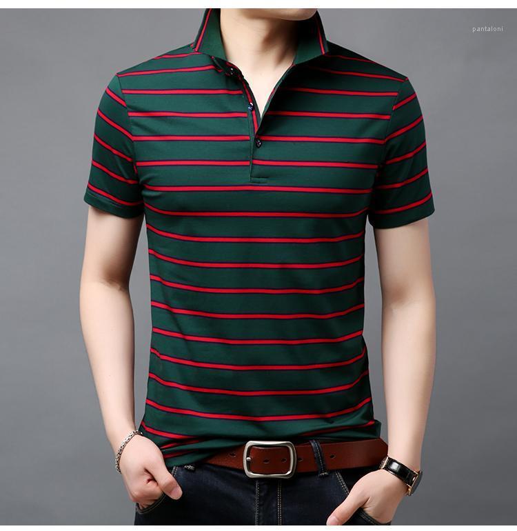 Fahsion Mens Tops Полосатый Печать Casual Male Одежда Полосатый среднего возрасте Мужские футболки лето с коротким рукавом