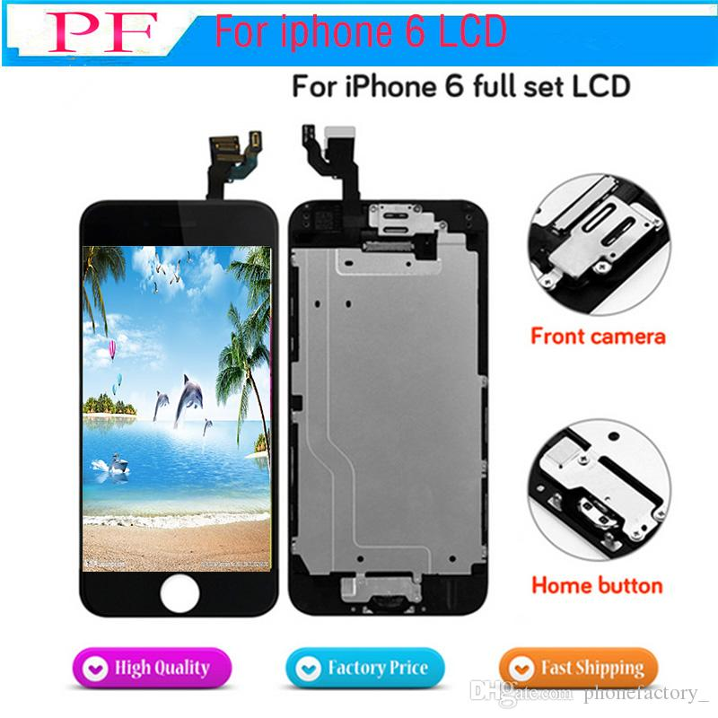 Display LCD a schermo completo per iPhone 6 Schermo Display sostitutivo LCD Assemblaggio completo con pulsante Home Fotocamera anteriore + piastra posteriore