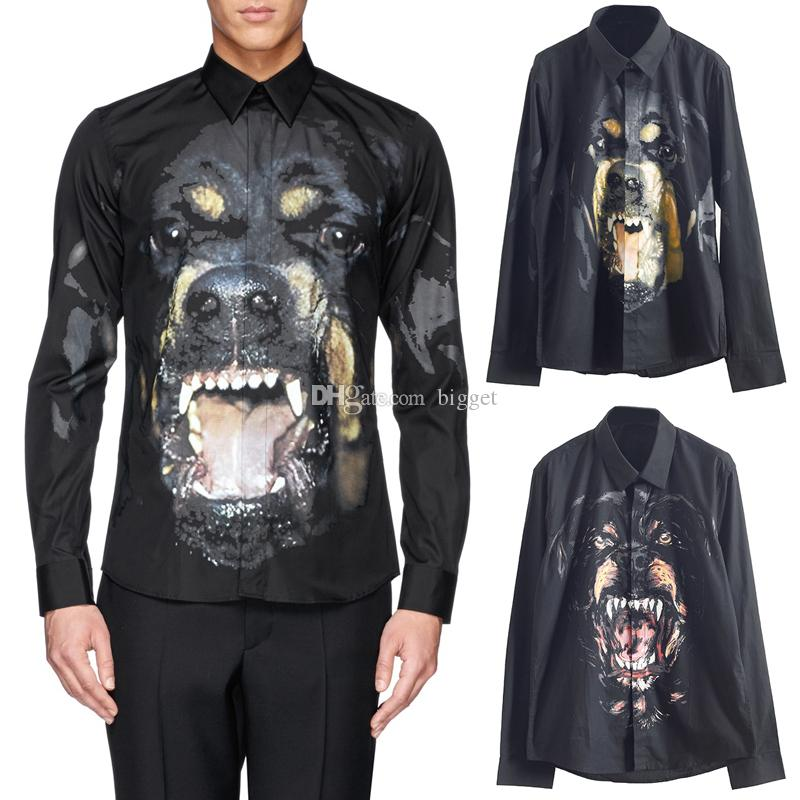 Rottweiler Dog Design Shirt For Men Casual 3D Printed New Arrival Long Sleeve Slim Fit Male Shirts