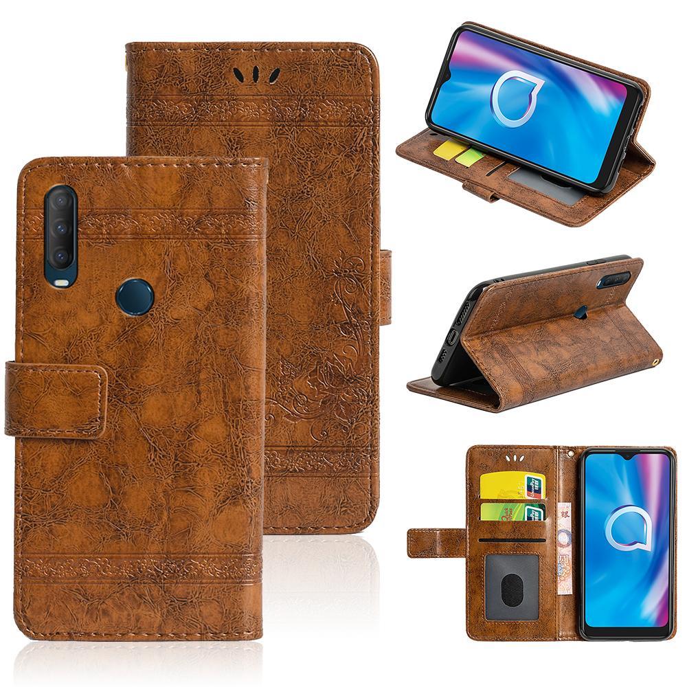 [Vintaj yağı mumu model] kart yuvası Alcatel 1S 3L 1V 1B 1A 2020 PU deri çevirme telefon durumda