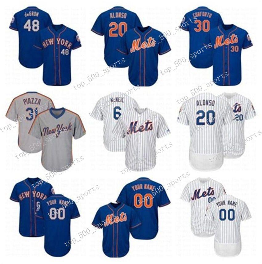 망 맞춤형 유니폼 피트 제프 맥닐 데이비드 라이트 제이콥 딜론 마이크 피아자 Darryl 딸기 노아 34 Syndergaard 야구 유니폼