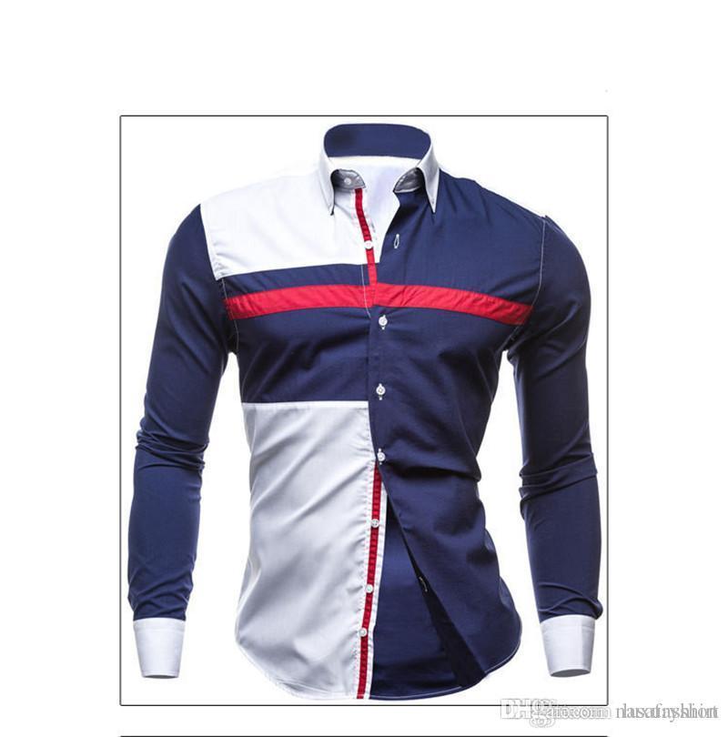 Designer Mens Shirts Magro manga comprida lapela do pescoço Camisas Casual adolescente Patchwork Tops Moda Vestuário Masculino