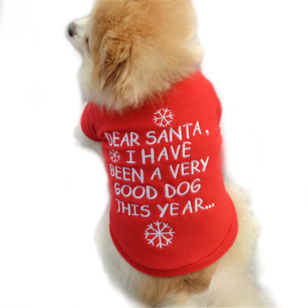 Dog Fleece Xmas Dog Toy Clothes Sweater Christmas Red Sweater Pet Puppy Autumn Winter Warm Pullover Embroidered Clothes