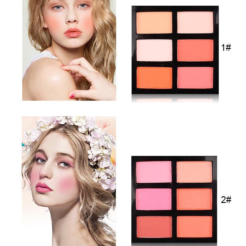 Maquillaje Blush Blusher 6 Colores Larga Duración Brillo Cosméticos Belleza para Mujeres MH88