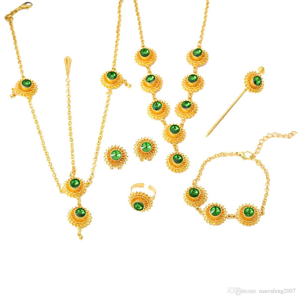 Äthiopische afrikanische Hochzeit neue Halskette Ohrringe Ring Armband Haarnadel Haar Kette Zubehör Schmuck Sets