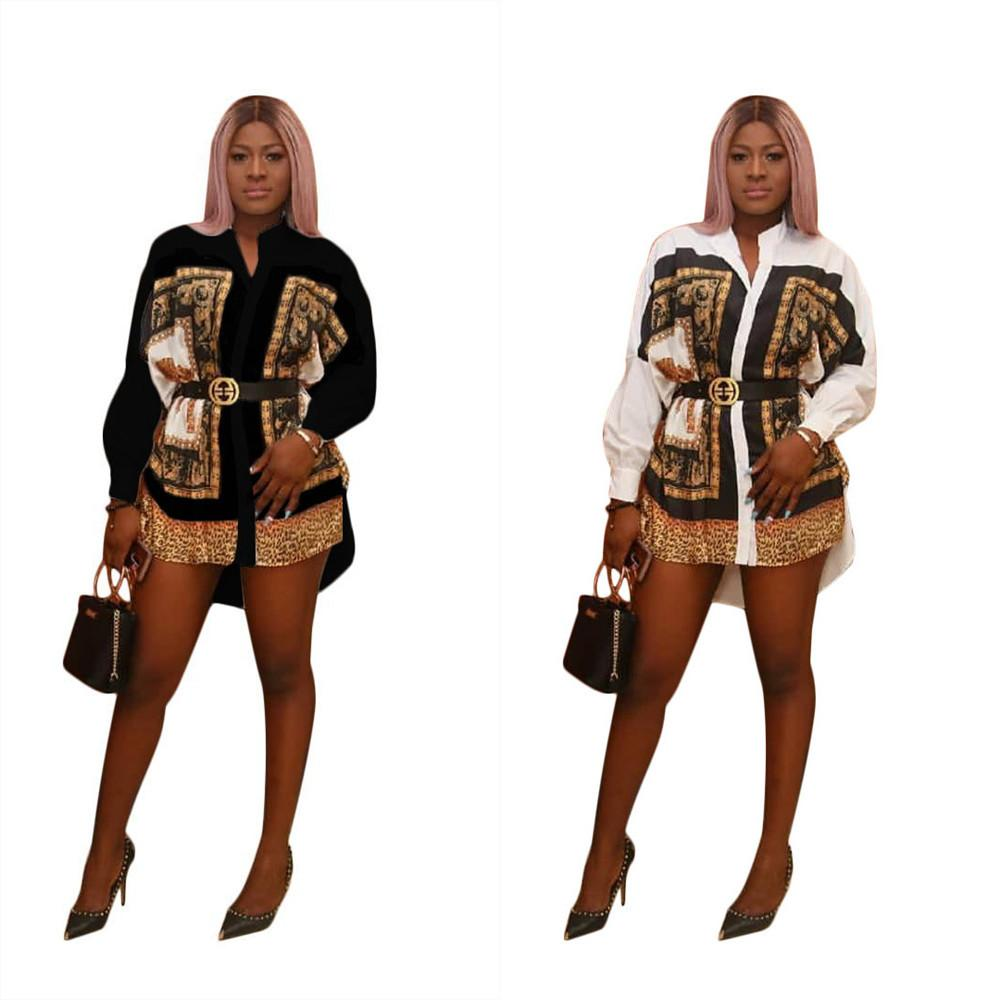 Womens Long Shirt Stand Collar Printing Mini Shirt Dress Fashion Causal Ladies Blouse Loose Midi Tops