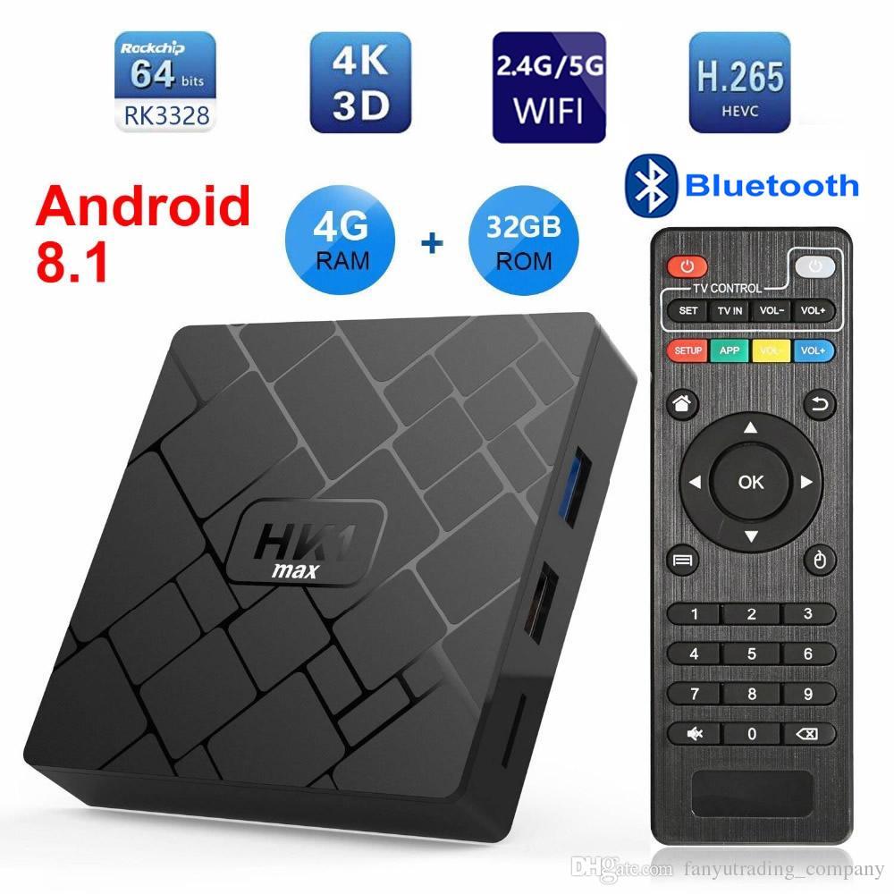 HK1 MAX Android 8.1 Akıllı TV KUTUSU 4 K RK3328 Dört çekirdekli 4 GB + 32G 64G 2.4G / 5G Çift WIFI Bluetooth 3D