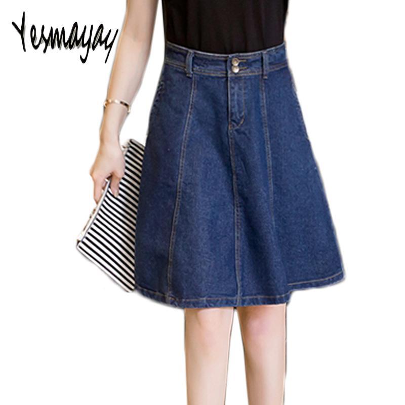 Denim High Waisted Skirts Womens Plus Size A-line Knee Length Elegant Work Wear Jeans Skirt Women 2019 Spring Autumn Skirts