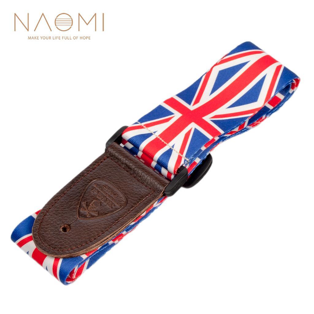 NAOMI guitarra Strap PU End couro ajustável Shoulder Strap Para acústico / elétrico Guitarra Musical Instrument Acessórios