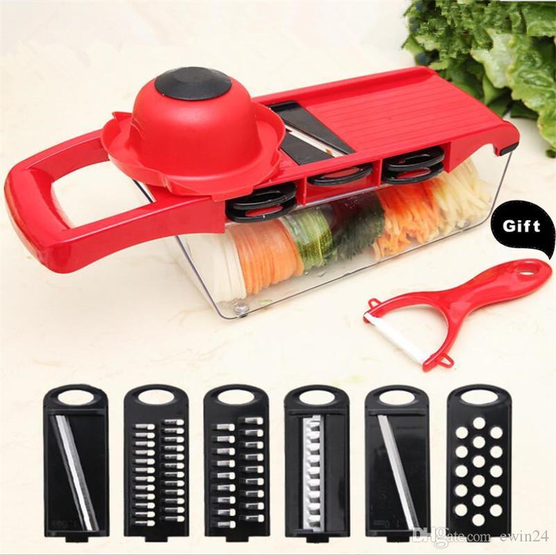 6 cuchillas Mandoline Slicer Cortador de verduras Patata Cebolla Zanahoria Rallador Picador Con pelador manual Color Rojo Favorable al medio ambiente