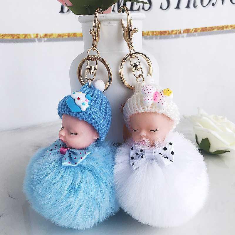 Chaveiros bola bonito Fluffy Pompom boneca Keychain pele falsa para as Mulheres saco de jóias pingente amigos carro do brinquedo dos anéis chave Crianças presentes