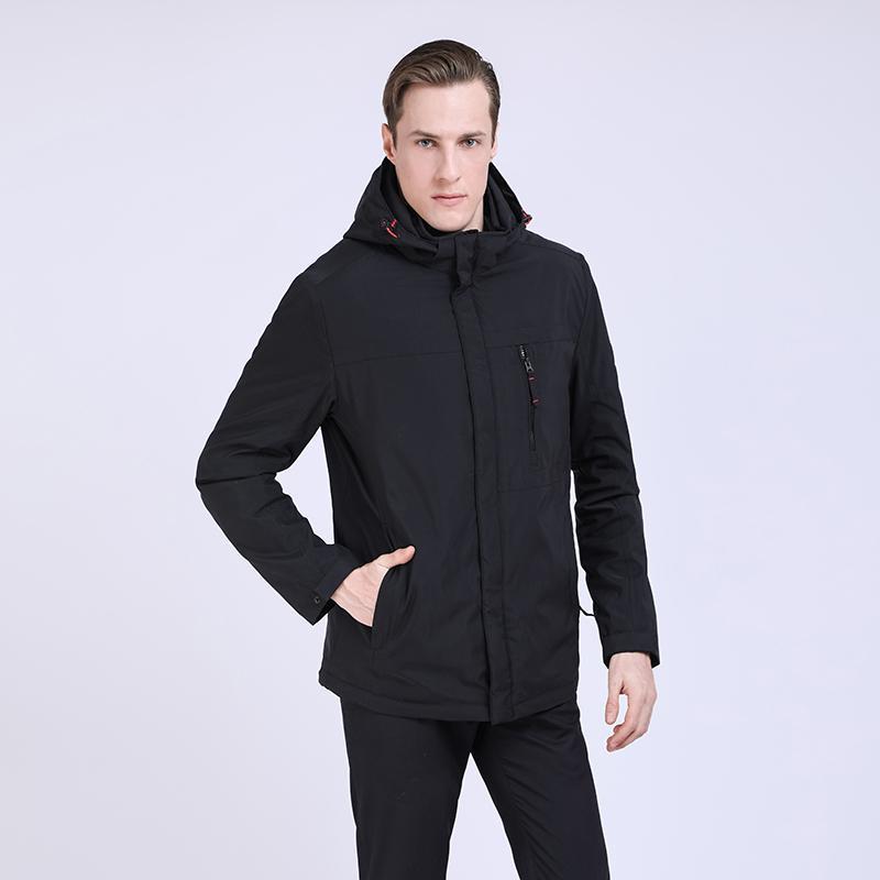 2019 New Spring Jacket Men Cotton Padded Jacket Mens Warm Casual Coat Men Parka Hombre Detachable Hood Outwear European Size