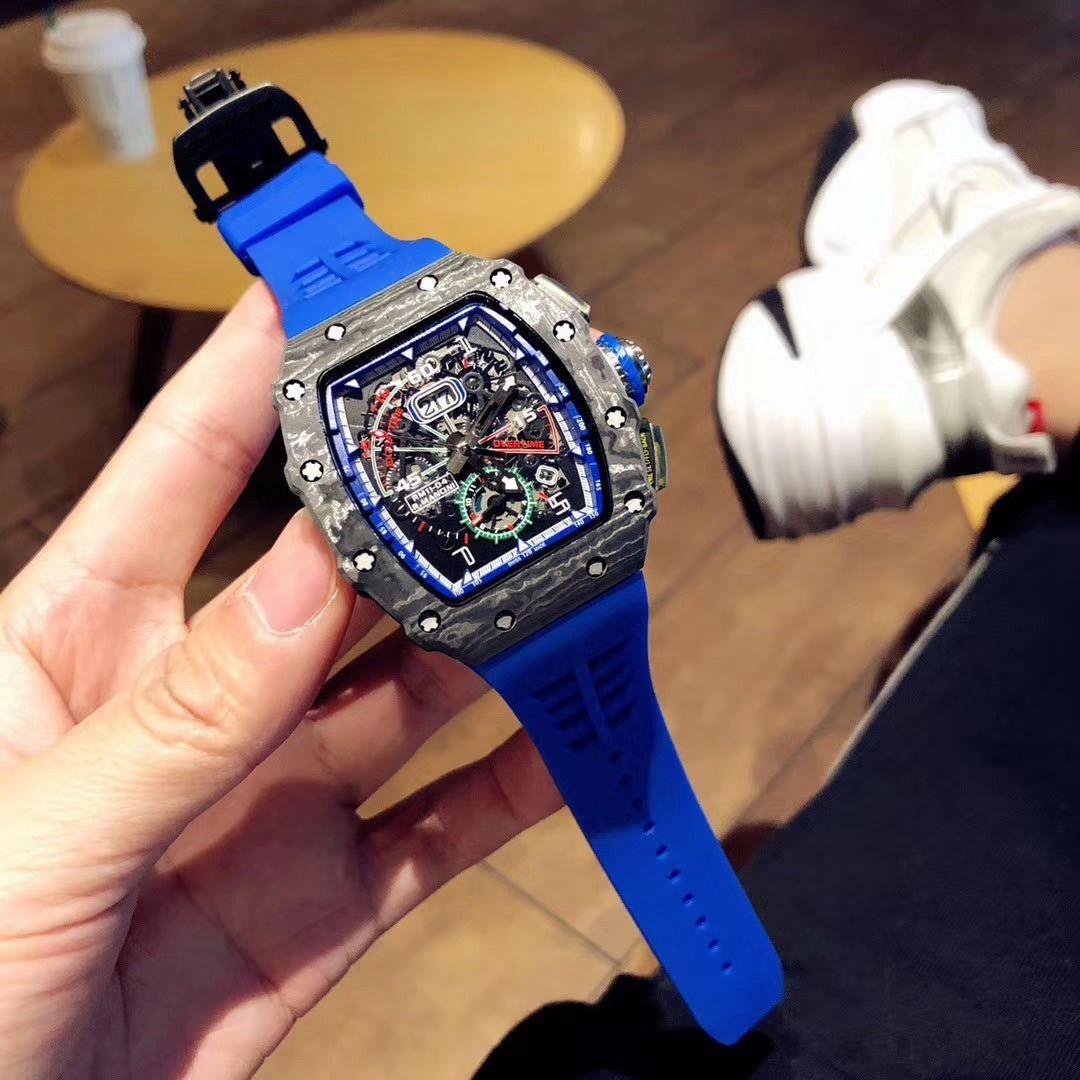 The latest 11-03RG carbon fiber material case blue rubber strap sapphire mirror automatic mechanical movement 40MM men's watch