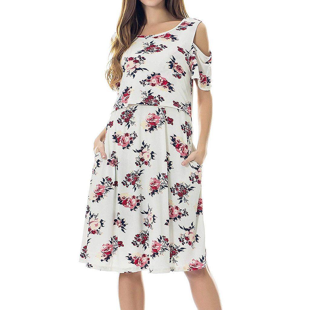 Women Maternity Dresses Cold Shoulder Floral Breastfeeding Elegant Summer Nursing Dress Pregnant Clothes Vetement Femme 19jun12