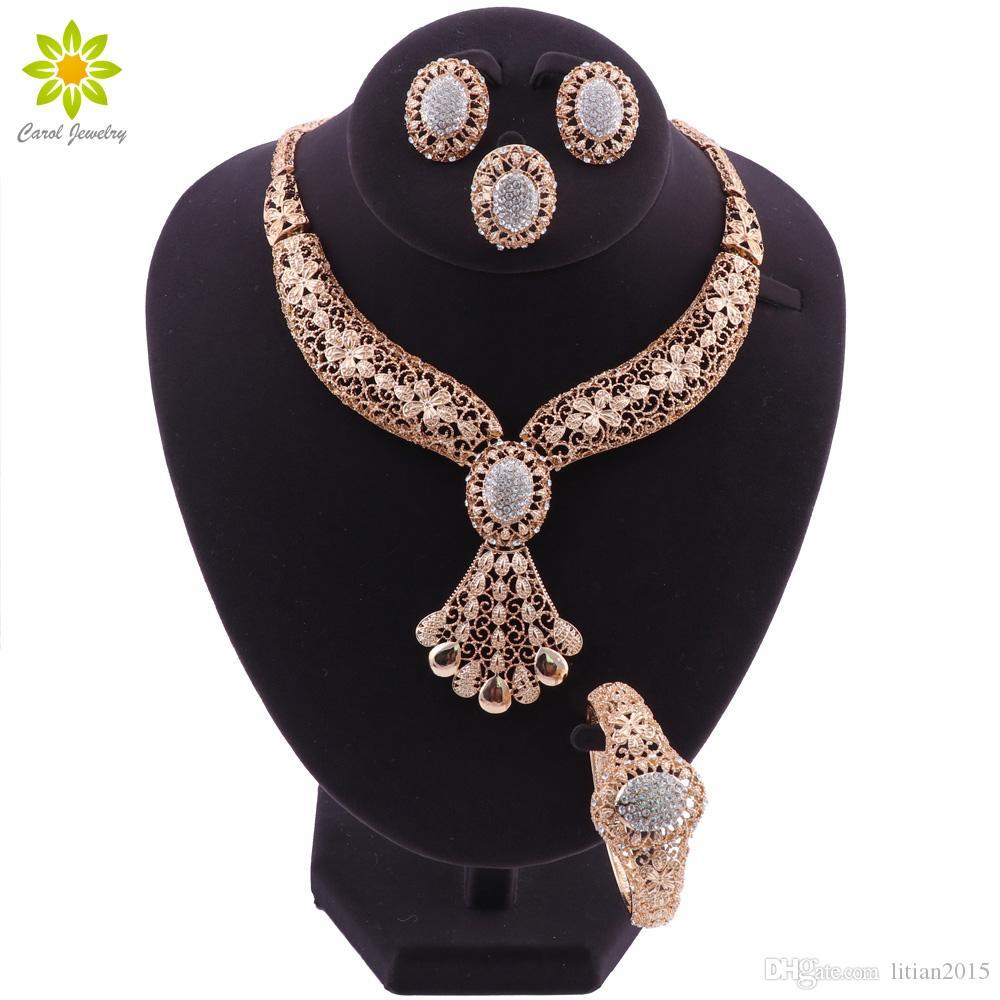 Nupcial Do Casamento Conjunto de Jóias de Casamento Africano Dubai Banhado A Ouro Conjuntos de Jóias Para As Mulheres Do Vintage Nigeriano Bead Conjuntos de Jóias Traje