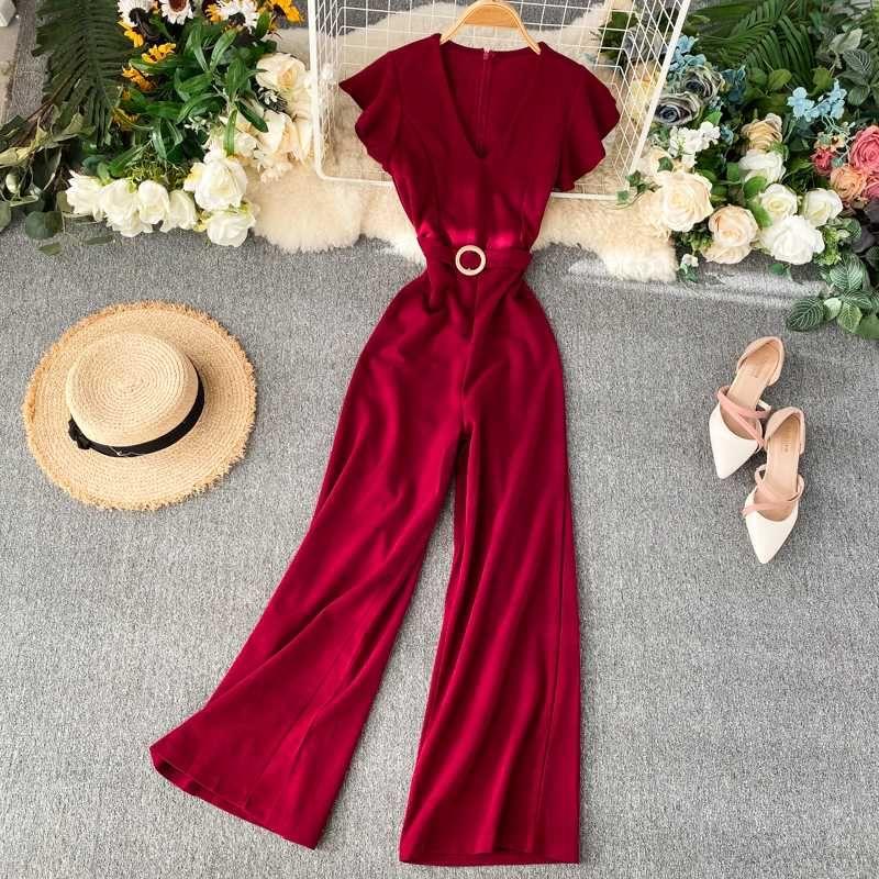 Fashion Slim 2020 Ruffles Jumpsuits V Neck Rompers Office Summer Full Length Jumpsuit Casual Women Elegant Playsuit Tie Romper