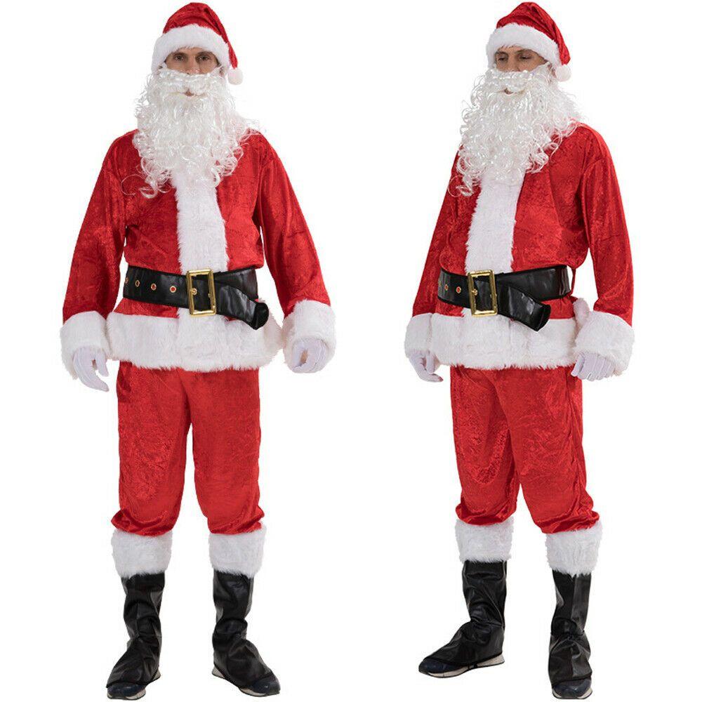 5PCS عيد الميلاد سانتا كلوز ملابس تنكرية الكبار للرجال البدلة تأثيري الأحمر الزي