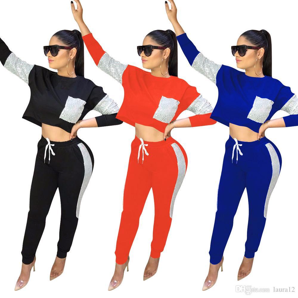 2020 Mais Novo Outono Inverno Mulheres Meninas Duas Peças Conjuntos de Esportes de Algodão Lantejoulas Patchwork Mangas Compridas T Shirt + Calças Moda Fatos