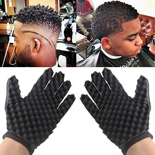 Curling Mold Coil Black Curly Hair Gloves Wave Barber Hair Brush Sponge Gloves