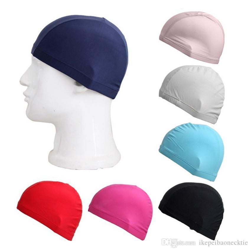 unisex solido Nylon panno adulti cuffie per la doccia cuffia impermeabile nuotare cappello Mens colori della caramella di nuoto tappi