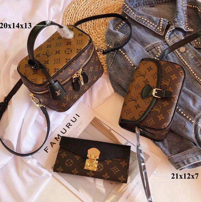 Pelle Donna New Luxury borsa della spalla di modo messaggero della frizione di lusso 3AA + Tote -1423