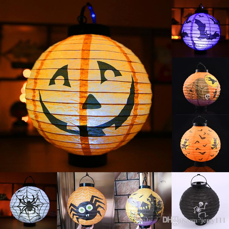 Halloween Decoration LED Paper Pumpkin Hanging Lantern Light lamp 8 styles halloween decorations for Home Horror Lantern Supplies DHL JY448