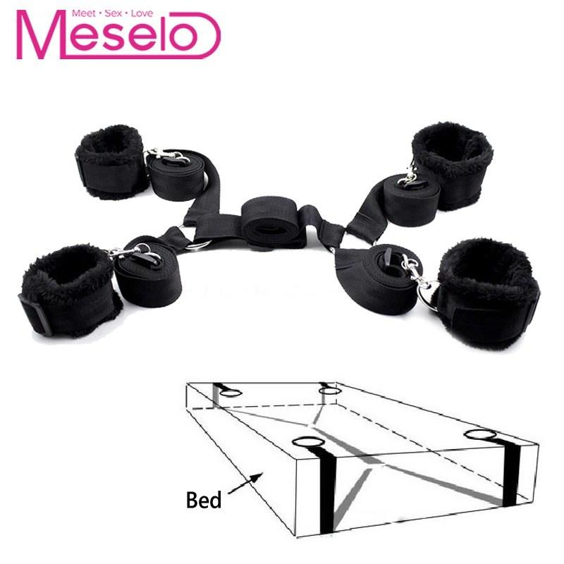 Meselo 1 Set bdsm Bondage Strap Plush s Sex Toys For Couple Flirting,Under Bed Harness Strap Wrists & Ankle s Adult Game Y200226