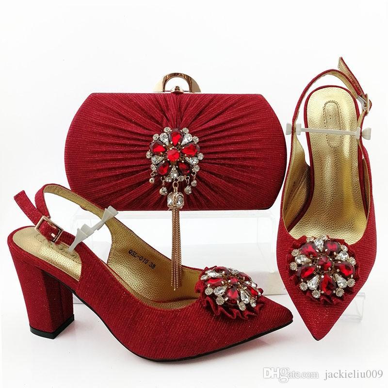 bombas de las mujeres rojos magníficos con cristal de estilo africano zapatos de vestir del fósforo del bolso conjunto QSL019, 9 cm del talón