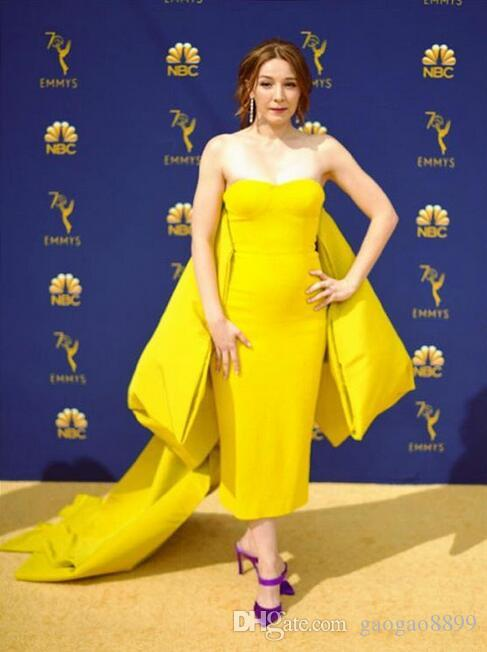 sheath elegant evening formal dresses 2019 yellow tea length with tired bow back cape long Formal prom Party custom made Red Carpet Dress