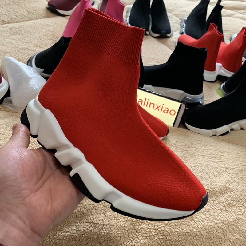 tendenza calda nuova donna degli uomini modo di velocità Red Trainer Sneakers maglia di lana del calzino Scarpe Calzini Sport Stivali