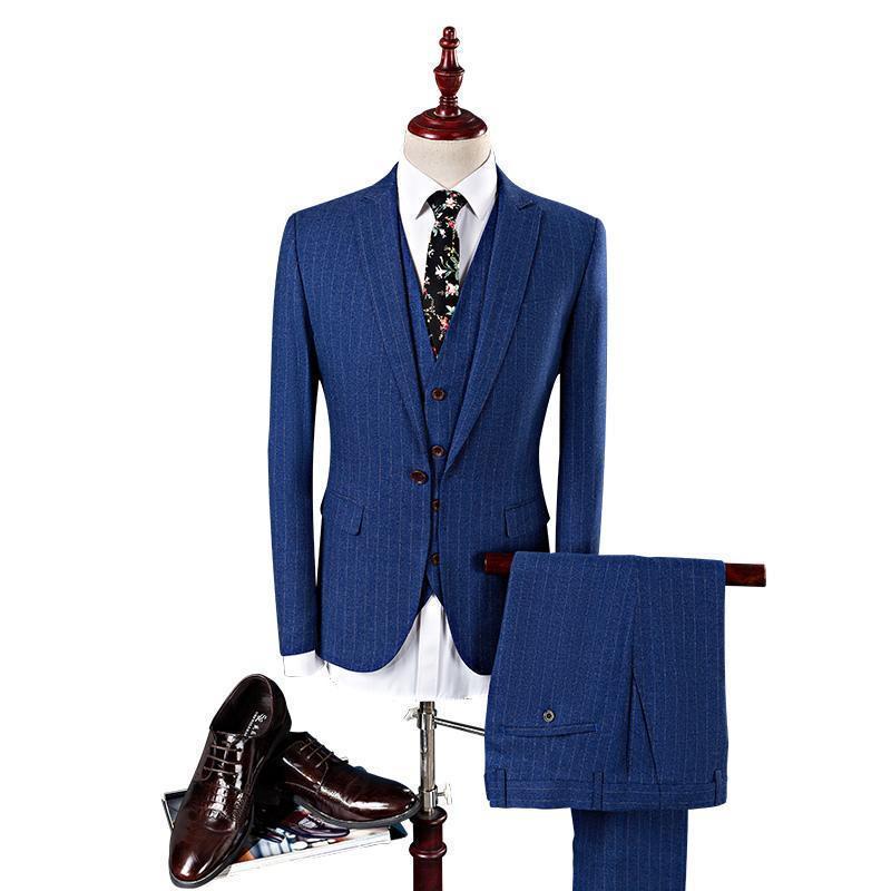 Pop 2019 Mens Striped Suit Slim Fit Men Suits For Wedding Brand Navy Blue Mens Formal Wear 3 Piece Business Suit Q340