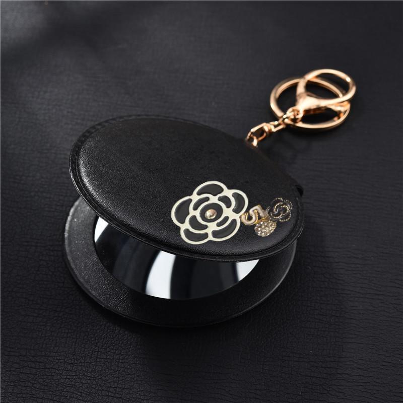 지갑 홀더 케이스 파우치 ACCESSORIE에 대한 키 체인 거울 PU 동백 한 접점 (5) 키 체인 자동차 가방 열쇠 고리 여성용 선물