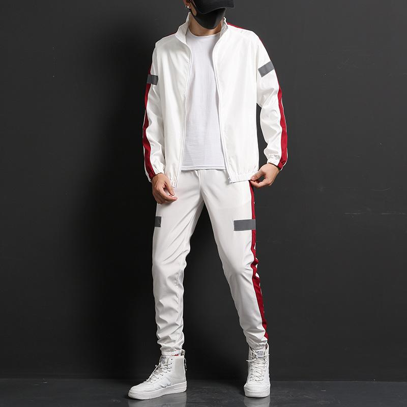 Men Sportswear Set Brand Mens Tracksuit Sporting Fitness Clothing Two Pieces Long Sleeve Jacket + Pants Casual Men's Track Suit