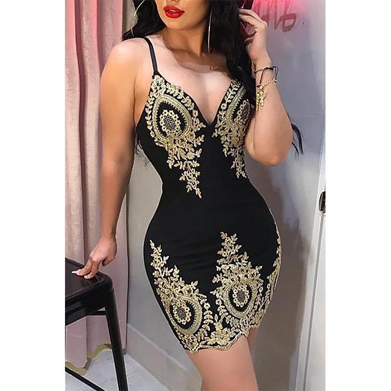 kadınlara vücut con nighty seks elbise olgun seksi altın dantel elbise seksi askısı elbise kadın kolsuz gece kulübü V mini etek siyah
