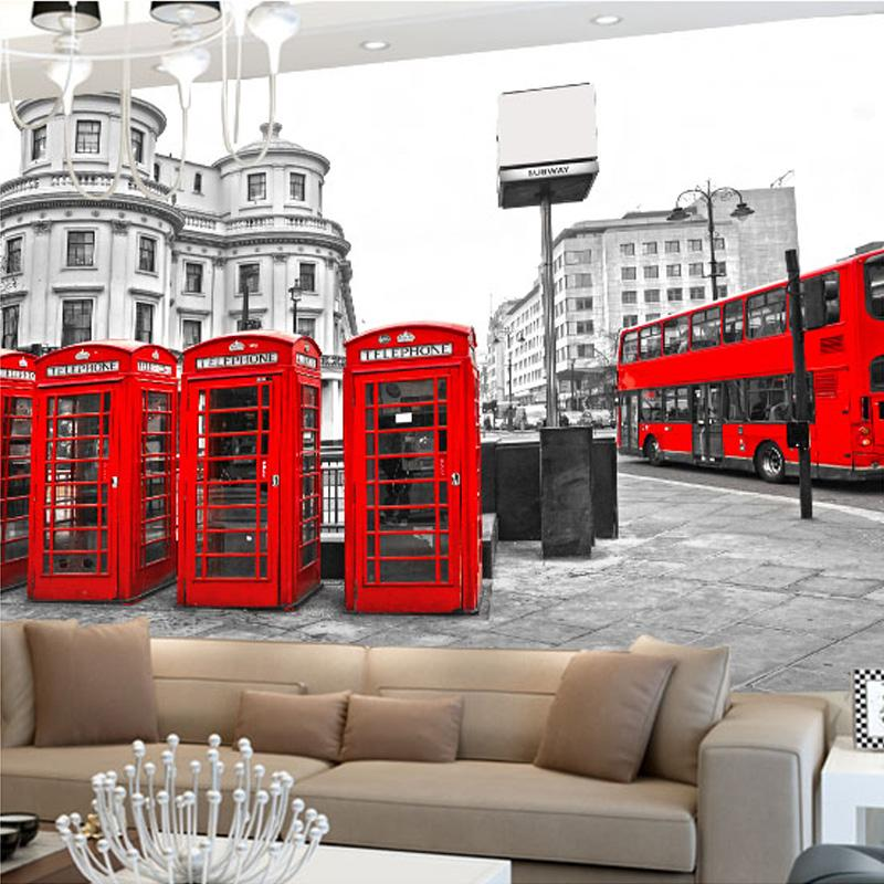Dropship Photo Wallpaper Black and White City Building Red Bus Telephone Stall 3D Wall Mural Cafe Living Room Sofa Backdrop Wall Frescoes
