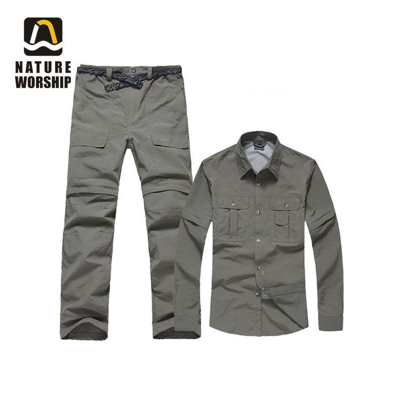 Men Women Outdoor Hiking Camping Hunting Quick-dry Softshell Waterproof Detachable Breathe Jacket Coat Sports Fishing Pants Sets