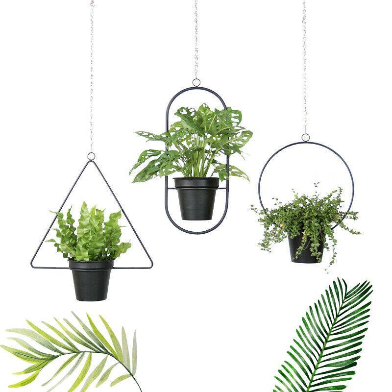 Attaccatura del supporto di Basket Vasi di fiori catena geometrica vaso da giardino metallo gancio della pianta carrello per la decorazione esterna dell'interno Succulente Erbe
