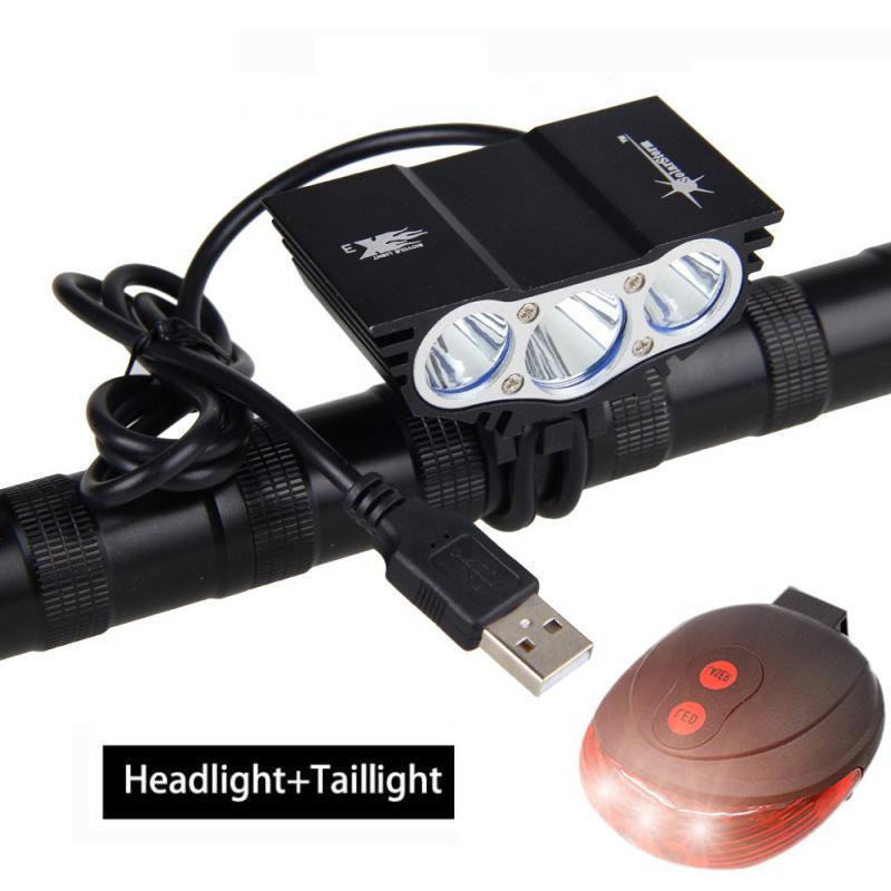 USB Noir Bike Light 3 * avant T6 LED Phares vélo 4 Modes lampe à vélo + batterie rechargeable + chargeur + Sécurité Feu arrière Y191211