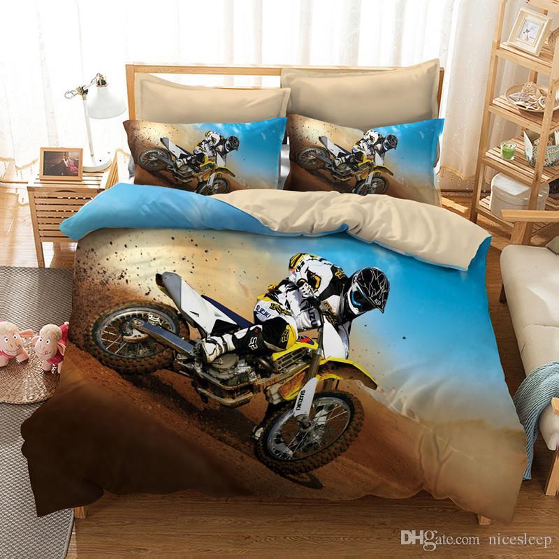 3d conjunto de cama queen size design da motocicleta Impressão capa de edredão set com fronha Quilt Tampa melhor presente AU rei