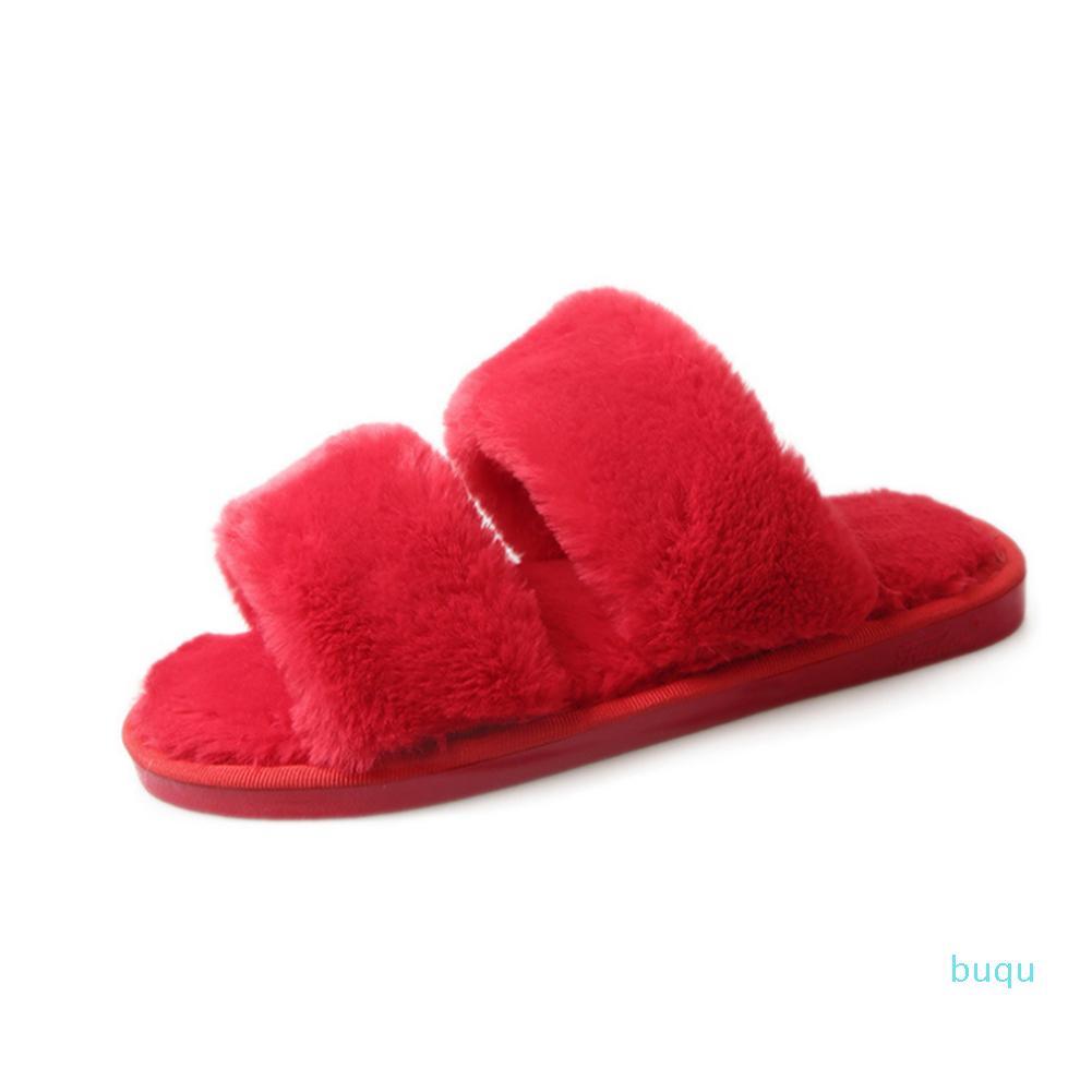 Sıcak satış-Yeni Kadın Kış Terlik Düz Yumuşak Flop'lar Peluş Kapalı Açık Ayakkabı Moda Katı Rahat Kaymaz Terlik çevirin Isınma