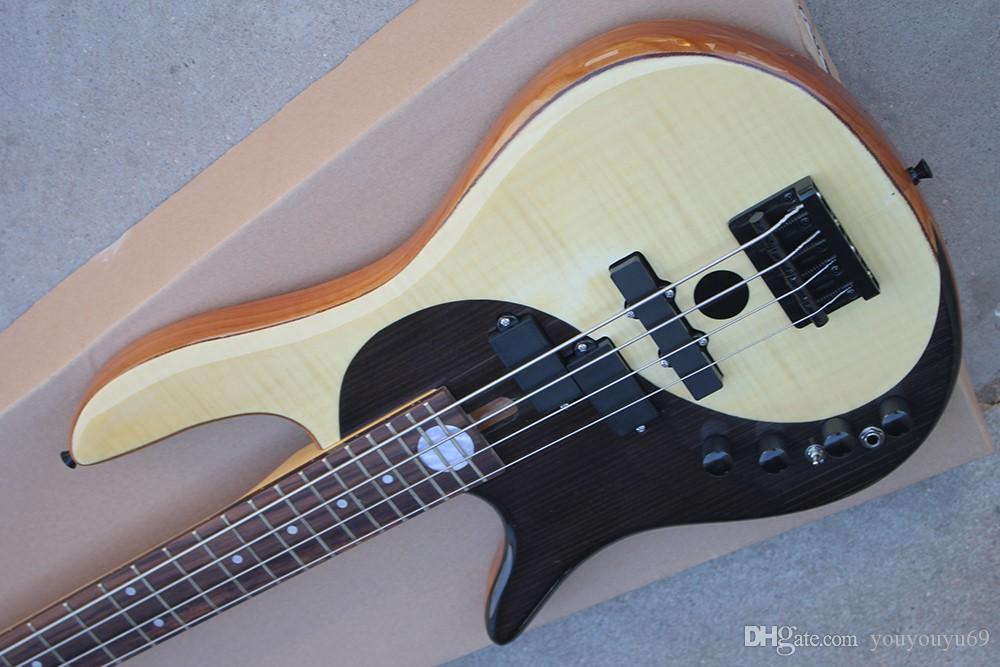 4 strings, 24 sounds, left-hand electric bass guitar with black hardware, flame beige board, custom service