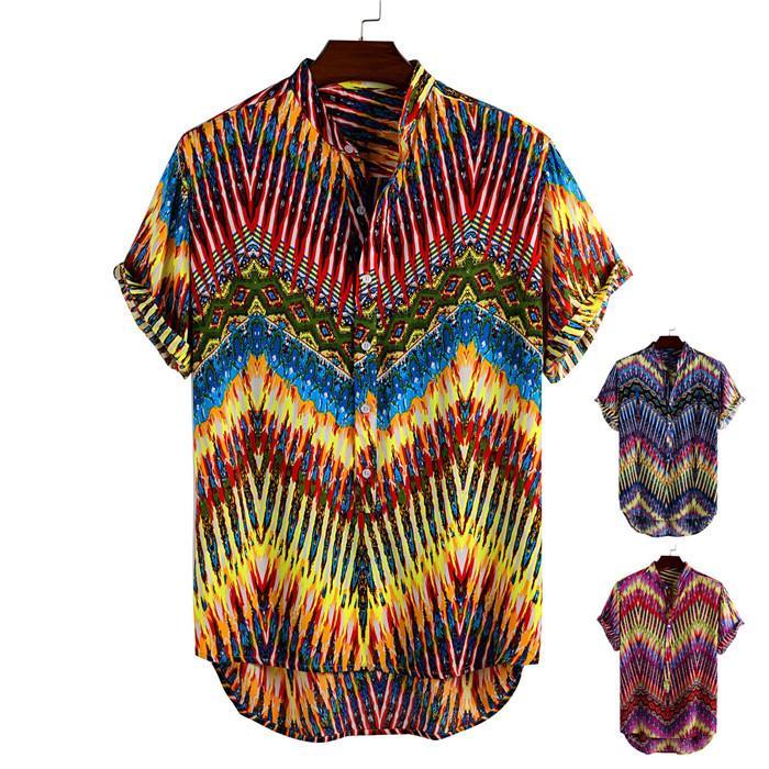 Erkek 3D Yaz Desigmet Standı Yaka Sigle Breasted Şort Kol tişörtleri Erkekler Moda Casaul Clothes Plaj Gömlek yazdır