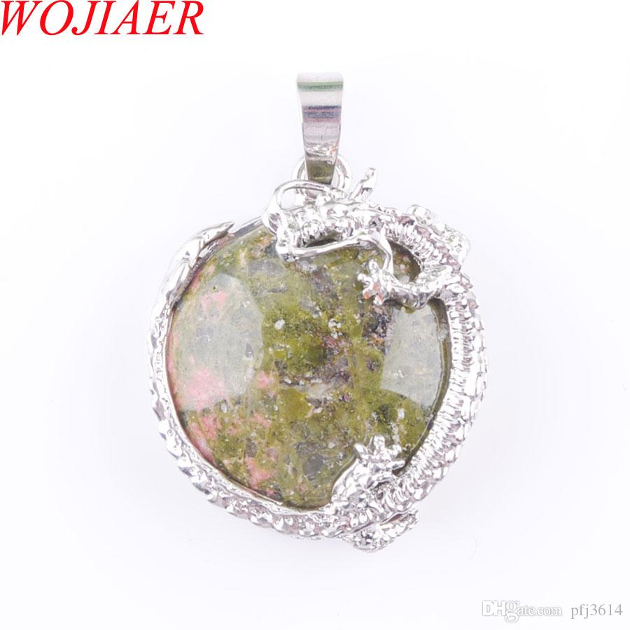 WOJIAER Women Trendy Jewelry Natural Unakite Jasper Gem Stones Cabochon Bead Dragon Silver Pendant Necklace DN3159