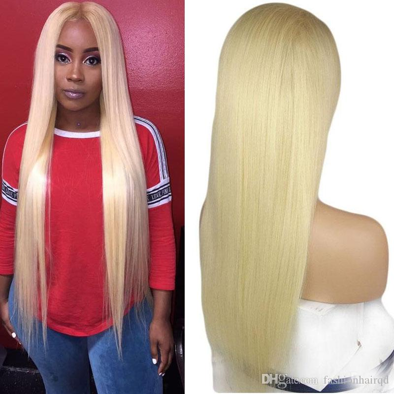 613 Lace Front Human Hair Wigs With Baby Hair Pre Plucked Straight Brazilian Blonde Glueless Full Lace Wigs For Black Women 180 Density
